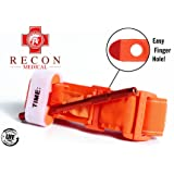 Recon Medical ORNGTQTourniquet -(ORANGE) Gen 3 Mil-Spec Kevlar Metal Windlass Aluminum First Aid Tactical Swat Medic Pre-Hospital Life Saving Hemorrhage Control Registration Card 1 Pack (Color: Orange)