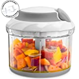 Gourmia GSC9285 Swift Chopper Pull String Manual Food Processor With 2 Attachment Blades, Durable BPA free food safe material (Color: Gray, Tamaño: 4 Cup)