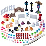Zealor 100 Pieces Miniature Ornaments Kit for DIY Fairy Garden Dollhouse Decoration (Tamaño: Size 2)