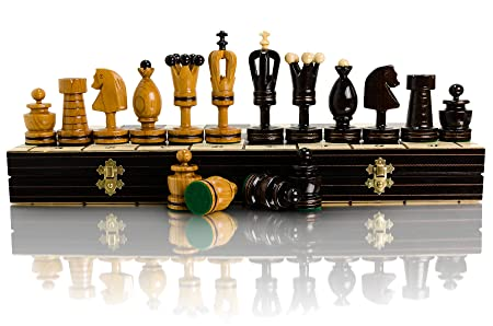 Jeu d'échecs en bois fabriqués à la main de superbe ROYAL INCRUSTÉES grand 50 x 50cm !!!