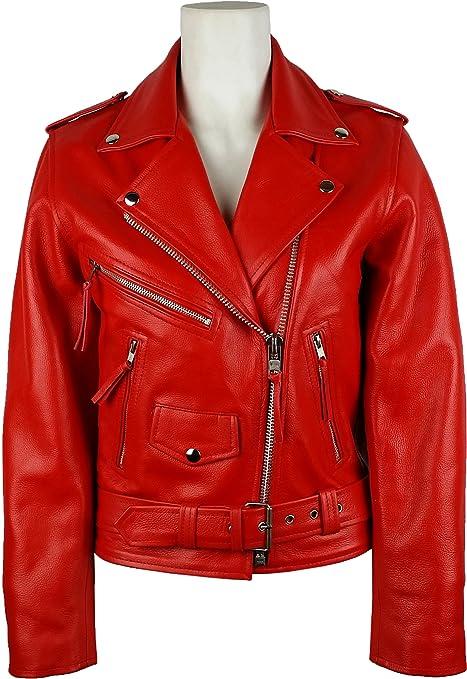 UNICORN Damen Klassische Brando Biker-Stil - Echtleder Jacke - Rot #7Z