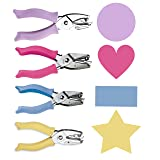 Hand Punch - Shape Puncher, 1/4 Inch - Great for Crafting and Fun Projects - 4 Different Shapes - Heart, Circle, Star, Rectangle - Value Set
