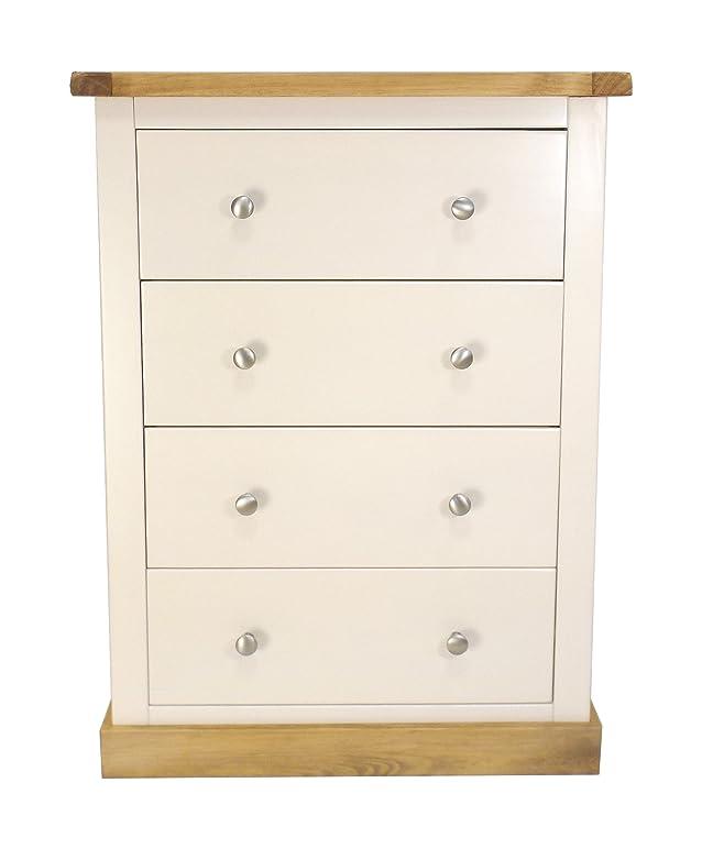 Armadio a cassetti Petite petto con manopola di metallo/cerato quadrato gonna, legno, bianco