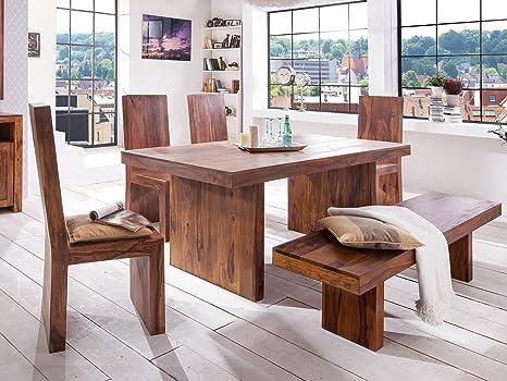 Massivum Country Esstisch mit 4 Stuhlen und Sitzbank, Holz, braun, 100 x 180 x 78 cm