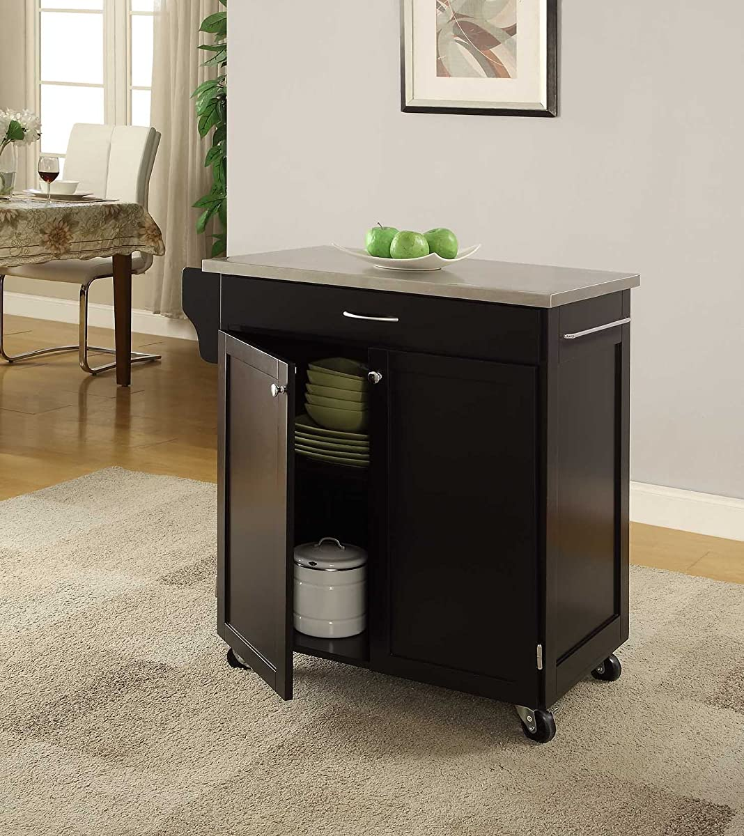 """Oliver and Smith - Nashville Collection - Mobile Kitchen Island Cart on Wheels - Black - Stainless Steel Top - 33"""" W x 18"""" L x 36"""" H"""