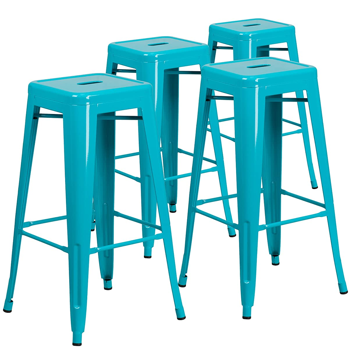 Flash Furniture 4 Pk. 30 High Backless Crystal Teal-Blue Indoor-Outdoor Barstool