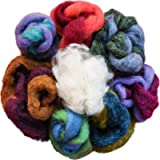 100% Wool - Assorted Wool Roving Ends & White Natural Wool for Needle Felting (Color: Multi (100% Wool))