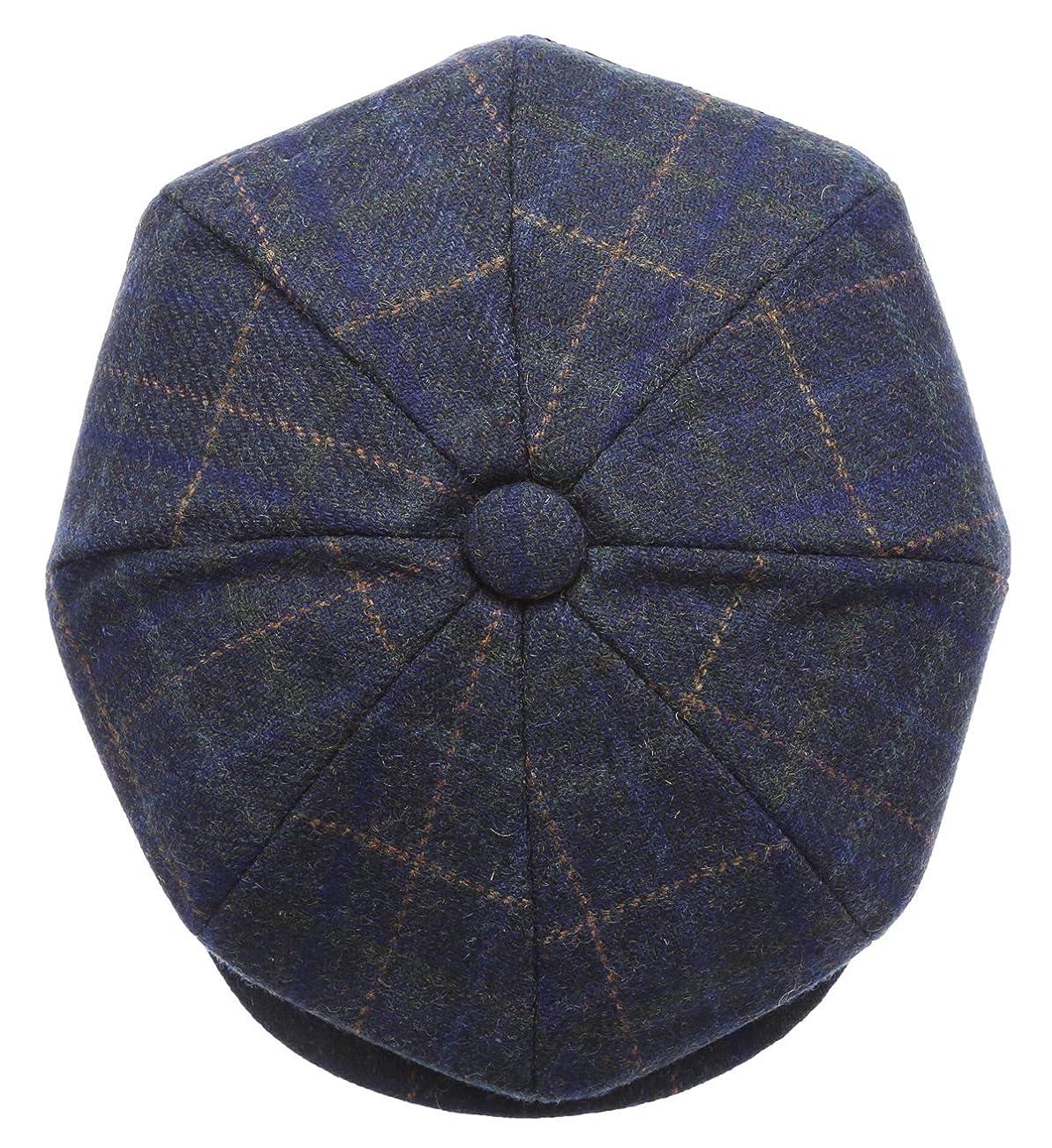Men's Premium 100% Wool 8Panels Plaid Herringbone Newsboy Hat With MIRMARU Socks. 3