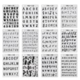 YUEAON 12 Pack Letter and Number Stencils Alphabet Stencil for A5 Bullet Journal Supplies Scrapbooking Painting Drawing Craft -5×7 inch (Color: 12PACK)