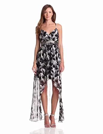 maxandcleo Women's Hi Lo Hem Printed Dress, Black Combo, 2