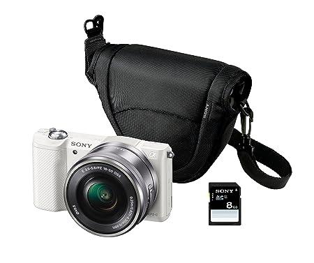 """Sony ILCE-5000LW - Caméra EVIL 20,1 MP (articulé écran de 3 """", un stabilisateur, Full HD, WiFi), blanc - Lens Kit 16-50mm f / 3.5 OSS, la couverture et la carte SD de 8 Go"""