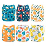 ALVABABY Cloth Diaper, One Size Adjustable Washable Reusable for Baby Girls and Boys 6 Pack with 12 Inserts (boy Color 6DM37, All in one) (Color: boy color 6DM37, Tamaño: All in one)