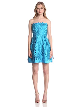 Adrianna Papell Women's Strapless A-Line Party Dress, Cerulean, 2