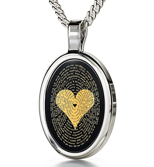 I Love You Necklace In 120 Languages Imprinted in 24kt Gold on Onyx Stone