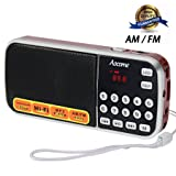 Aocome Portable Mini AM FM Radio Clear Speaker Music Player, Micro SD/TF Card Slot, USB Charging Cord, Rechargeable Li-ion battery, Earphone Jack (BM8 Red)
