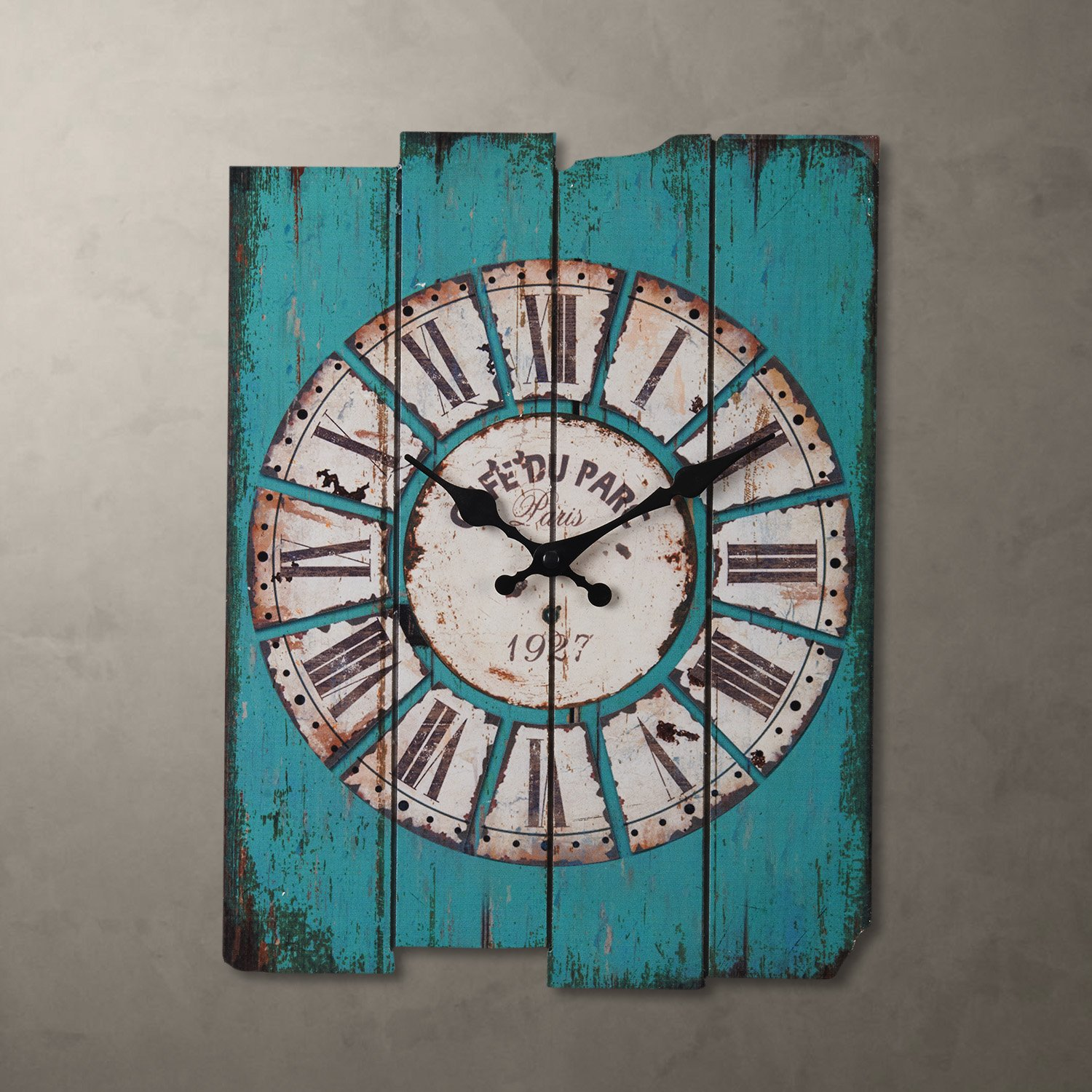 Aero Snail 15 by 12-Inches Vintage Retro Country Style Light Blue Wood Wall Clock