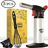 Cooking Torch Professional Set For Creme Brulee By Pepe Nero: Culinary Torch - Kitchen Torch - Refillable Aluminum Blow Butane Adjustable for Baking BBQ Chef - Gifts: Whisk & Measuring Spoons & Ebook (Color: Silver)