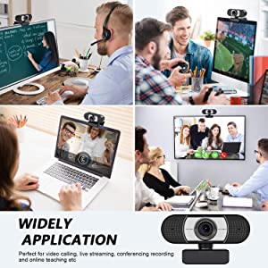 Unzano HD Webcam 1080p with Microphone, Computer Web Camera USB Mac Laptop or Desktop Web Cam for Streaming, Video Calling and Recording, 360 Degree Rotatable (Color: black)