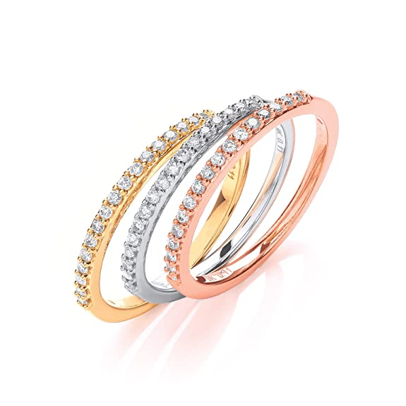 9ct White Yellow and Rose Gold 0.33ct Diamond Half Eternity Ring Set