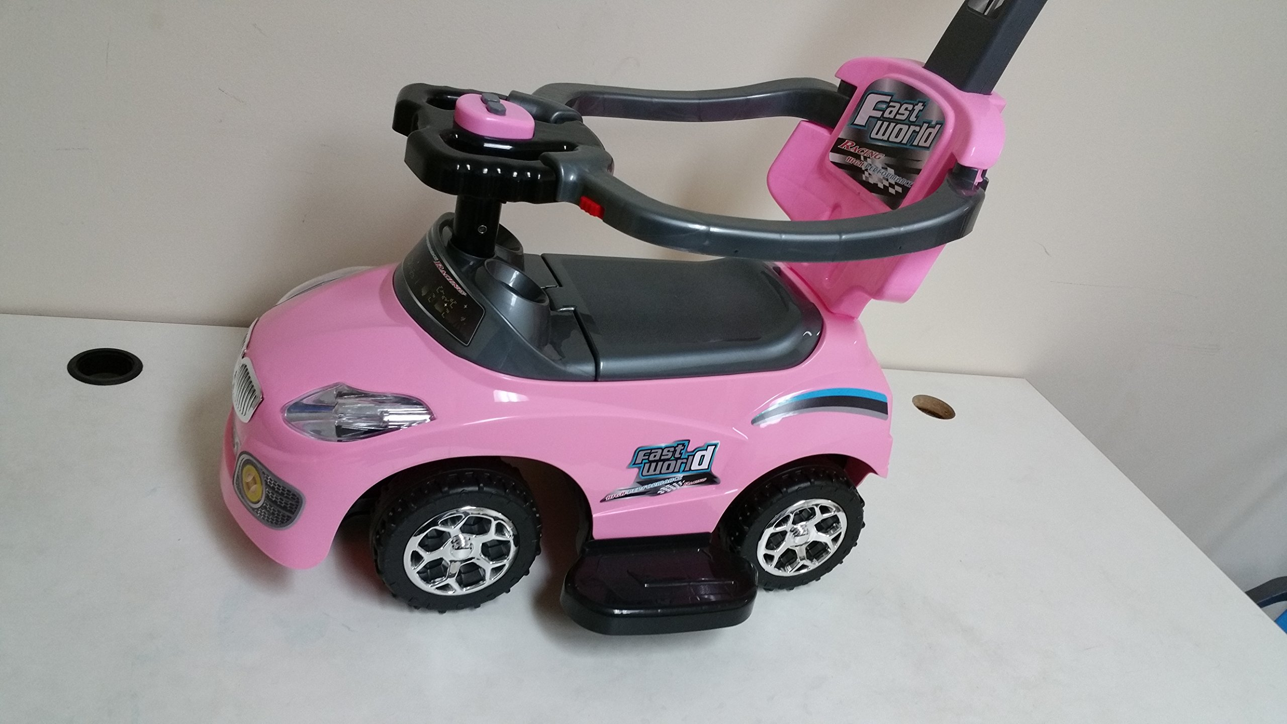 861 pink kid ride on 3 in 1 push car toddler wagon w handle horn outdoor ebay. Black Bedroom Furniture Sets. Home Design Ideas