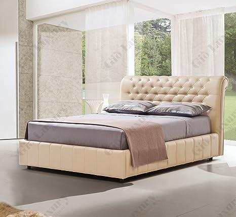 "Cama doble tapizada ""Vienna"" con contenedor - 100% Made in Italy"