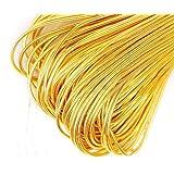 10g Dark Gold Round Smooth Copper Hand Embroidery French Fine Metallic Wire Goldwork Bullion Luneville Tambour Indian Gimp Dabka Purl Thread (Color: Dark Gold, Tamaño: 1mm)