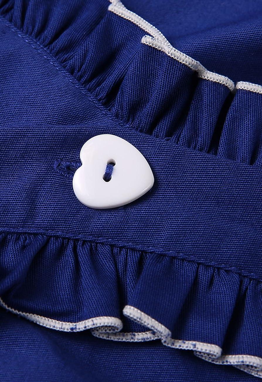Anni Coco® Women's 1950s Cap Sleeve Swing Vintage Party Dresses Multi Coloredblue 3