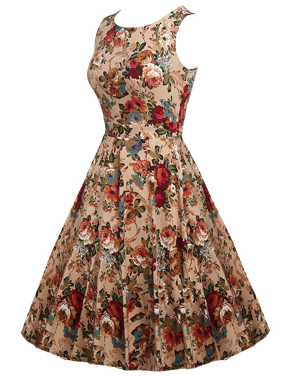 ARANEE Vintage Classy Floral Sleeveless Party Picnic Party Cocktail Dress 1