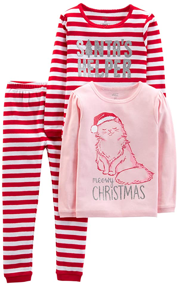 Christmas Holiday Red Santa Cotton Snug Fit Pajamas for Toddler Girls