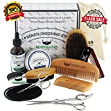BEARDCLASS Beard Grooming Kit Set for Men (12 in 1) - 100% Bamboo Boar Beard Brush and Wooden Comb, Organic 2 Oz. Beard Mustache Oil and Balm Wax with Diffuser Palm Comb, Scissors and Gift Box (Color: Bamboo, Tamaño: Small, Medium, Large)