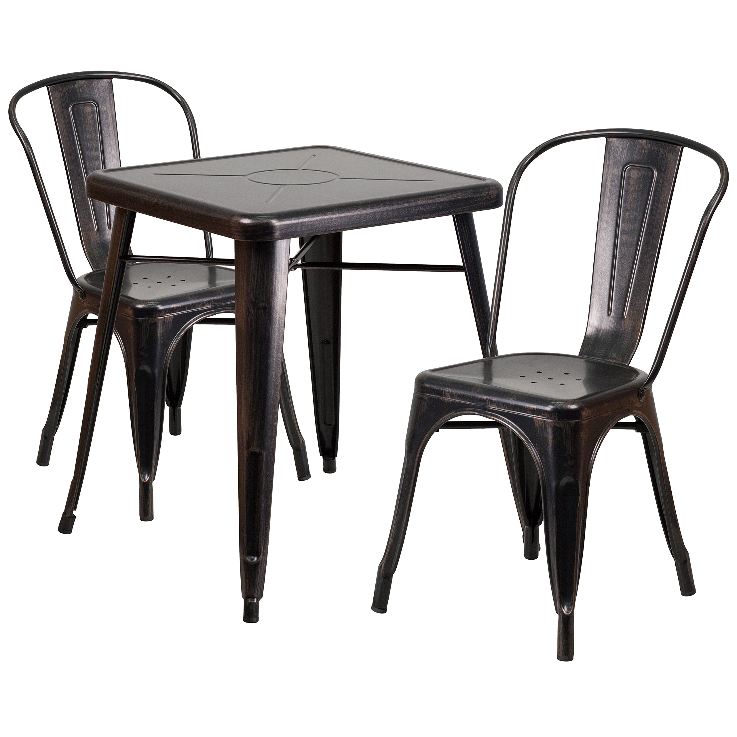 Flash Furniture Metal Indoor Outdoor Table Set With 2