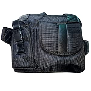Lewong Universal Hands Free Chest Harness Bag Holster for Two Way Radio (Rescue Essentials) (Leather Black) (Color: Leather Black)