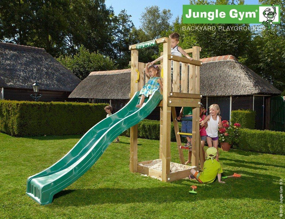 Spielturm Jungle Gym Tower Set mit 2,4 m Rutsche Sandkasten Kletterturm - Jungle Gym (inkl. Holzpaket), Apfelgrün