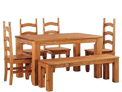 Brasilmöbel Esstisch Rio Classico 120x90 cm + 4 x Stuhl Rio Mexiko + Sitzbank Rio Classico Farbton Honig