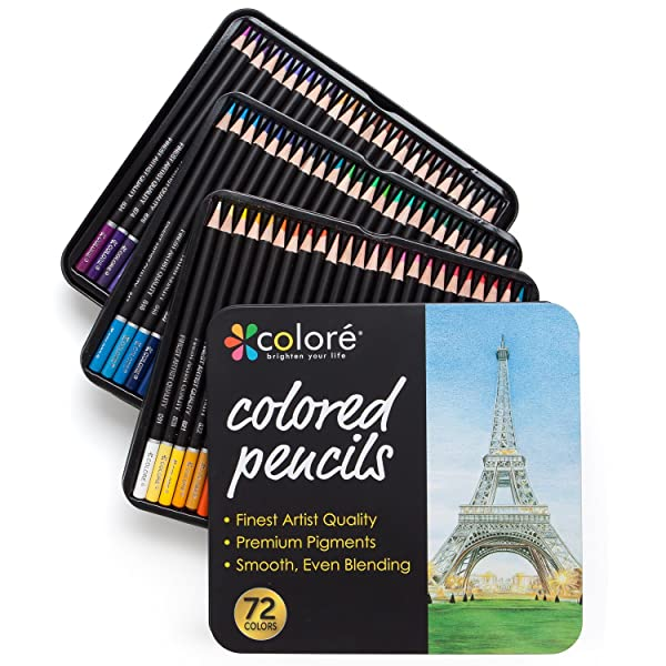 Colore Colored Pencils - 72 Premium Pre-Sharpened Color Pencil Set For Drawing Coloring Pages - Great Art School Supplies For Kids & Adults Coloring Books - 72 Colors (Tamaño: 72 pack)