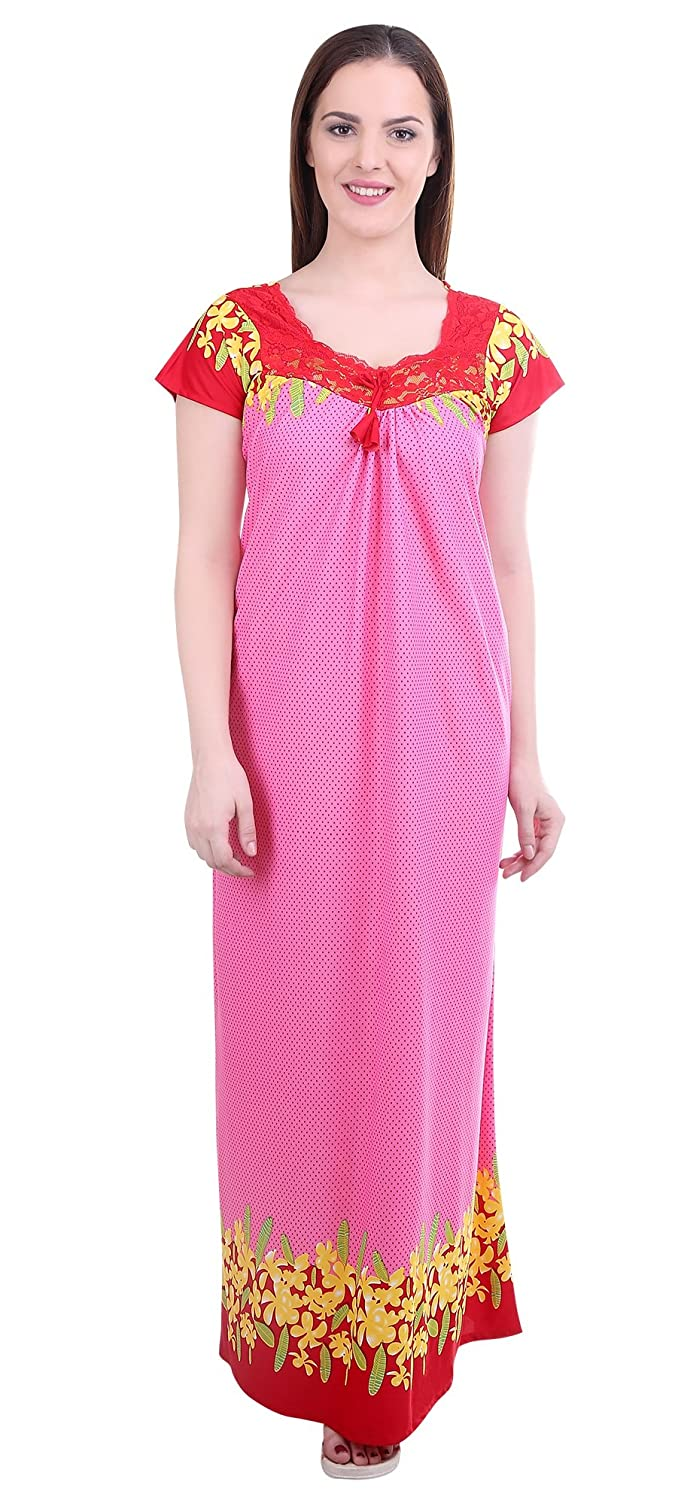 Noty - Women's Satin Nighty - Dotted Print (Pink)