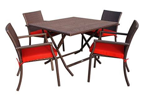 Jeco 5 Piece Wicker Table Dining Set in Red