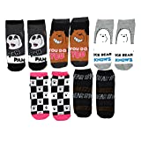 Cartoon Network We Bare Bears Ice Bear Grizz Panda 5 Pack Ankle Socks (Color: Multi Colored, Tamaño: Shoe Size 4-10)