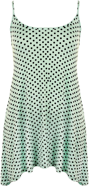 WearAll - Übergröße Strappy Cami Lang Stellen-Tupfen-Face Drucken Swing-Trägerhemd - 1 Farben - Größen 40-58