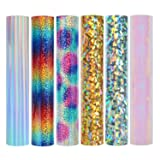 Holographic Heat Transfer Vinyl Rainbow Stripe Multi Heat Press Patterned Vinyl for DIY Iron On Clothing and Other Fabric 12