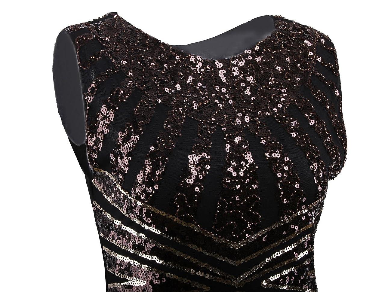 Vijiv Vintage 1920s Embellished Art Nouveau Fringe Sequin Beaded Flapper Dress 3