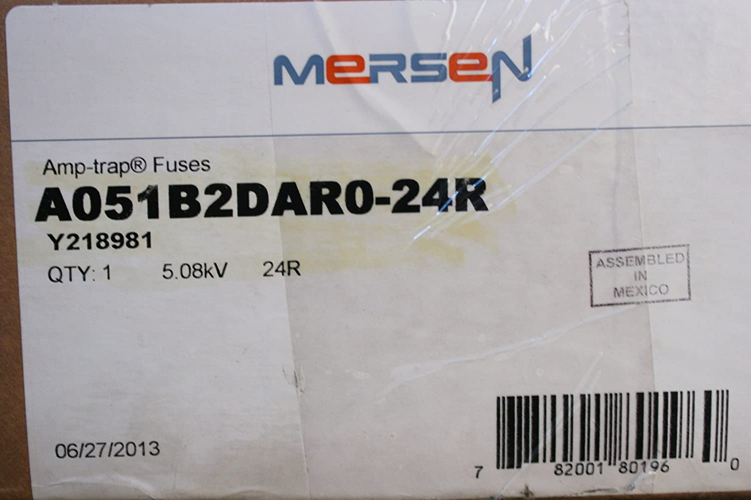 Mersen Amp-Trap Bolt-In Motor Protection R-Rated Fuse, 5.08kV AC, 65kA, 24 Ampere, 19-1/4