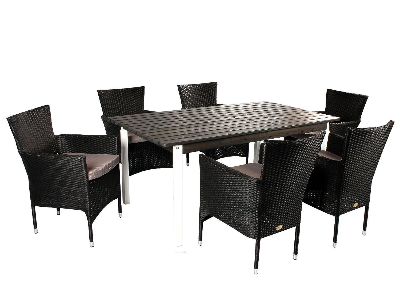 GARDENho.me 7tlg. Polyrattan Holz Sitzgruppe Novara, Stapel-Sessel schwarz und 160er Tisch Weiß/Taupegrau