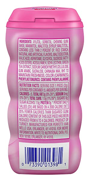 Mentos Sugar-Free Chewing Gum, Bubble Fresh Cotton Candy, 15 Piece Bottle (Pack of 10) (Tamaño: Pocket Bottle)