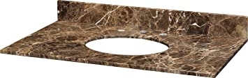 Xylem MAUT370DE 37-Inch Stone Top For Undermount Sink with Backsplash, Dark Emperador Marble