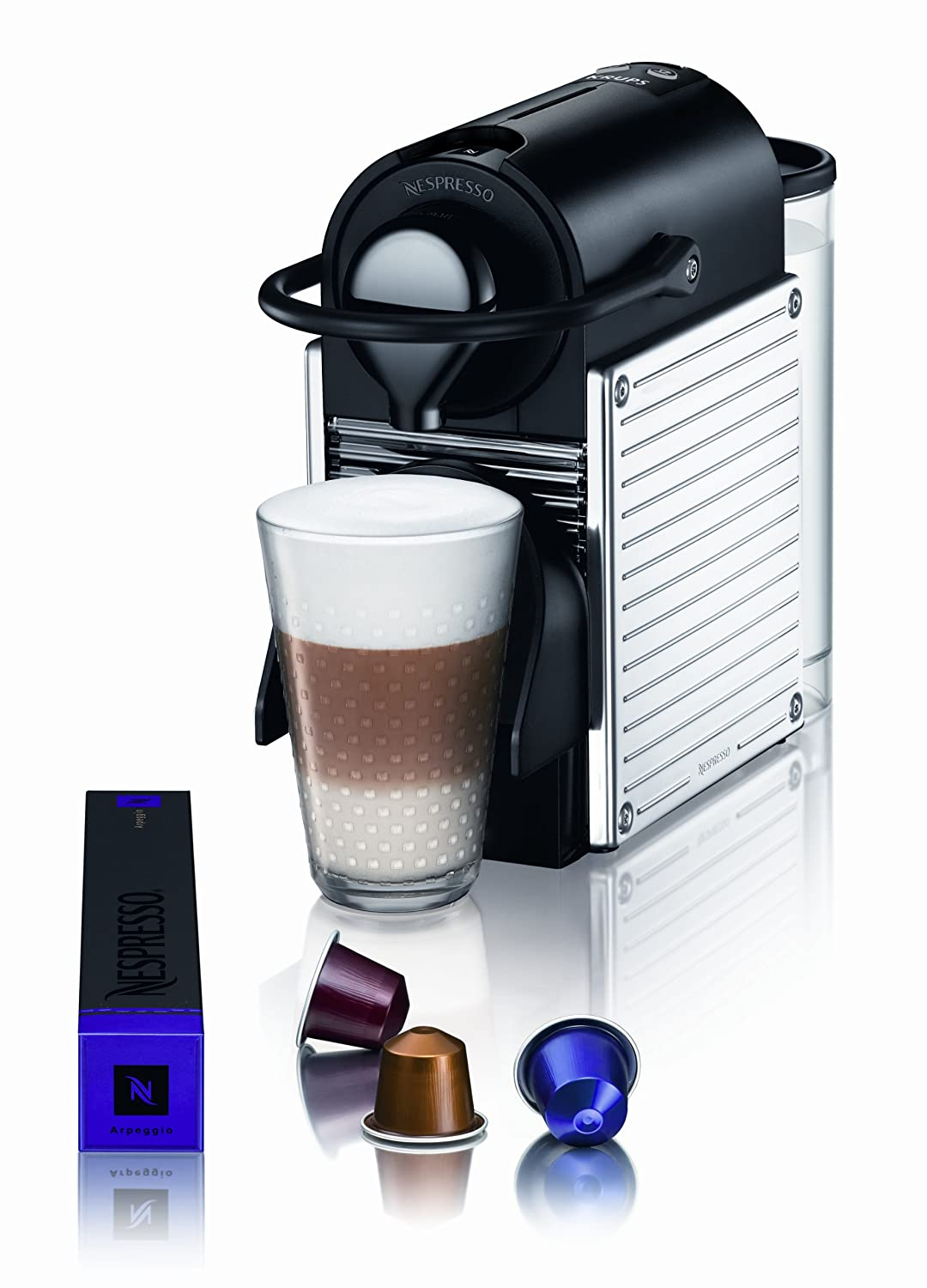 ds1 krups nespresso pixie electric coffee machine aeroccino3 frother silver ebay. Black Bedroom Furniture Sets. Home Design Ideas