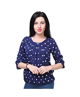 Deewa Women's Polyester Polka Dots Top (Blue,Small)