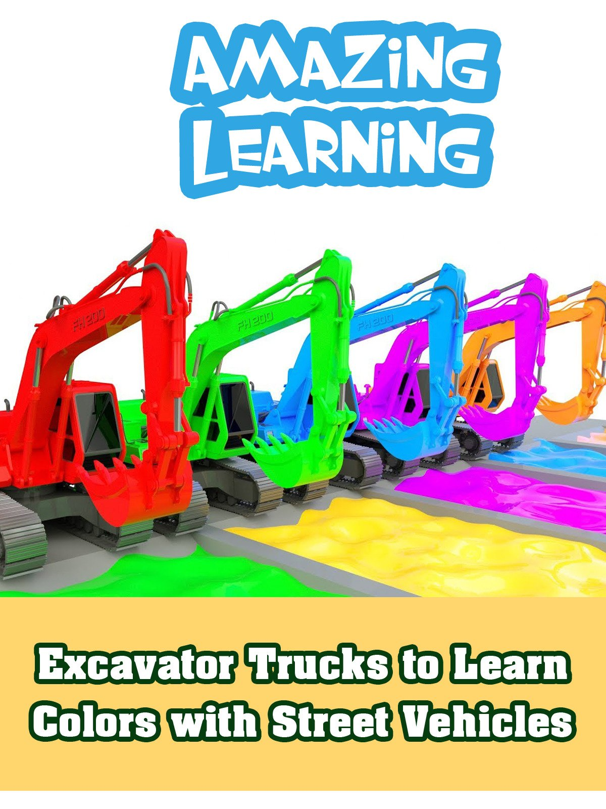 Excavator Trucks to Learn Colors with Street Vehicles