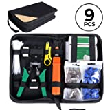 SGILE Pro 9/1 Network Tool Repair Kit, Ethernet LAN Cable Tester Computer Maintenance Coax Crimper Tool for RJ-45/11/12 Cat5/5e with Connector Accessories (Color: Orange-1/9, Tamaño: 1/9)