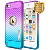 iPod Touch 5th Generation Case, Apple iPod Touch 6th Generation Case with [Tempered Glass Screen Protector], NageBee [Frost Clear] [Carbon Fiber] Slim Soft TPU Cover Case (Purple/Blue)